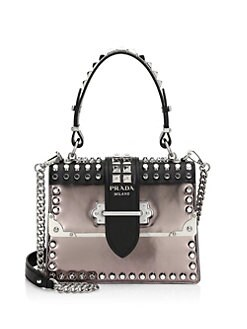 acd11a904ca1 Prada. Cahier Studded Leather Top Handle Bag