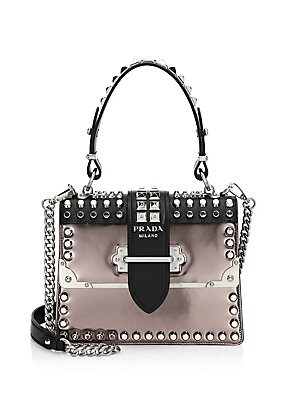 d4702fa3af68 Prada - Cahier Studded Leather Top Handle Bag - saks.com