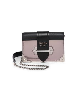 Small Metallic Cahier Leather Crossbody Bag by Prada