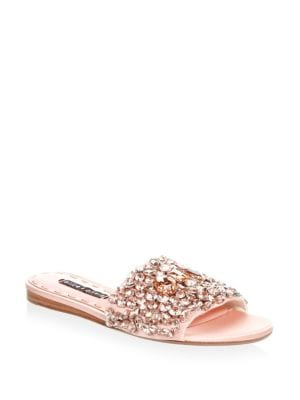 Abbey Satin Embellished Slides by Alice + Olivia