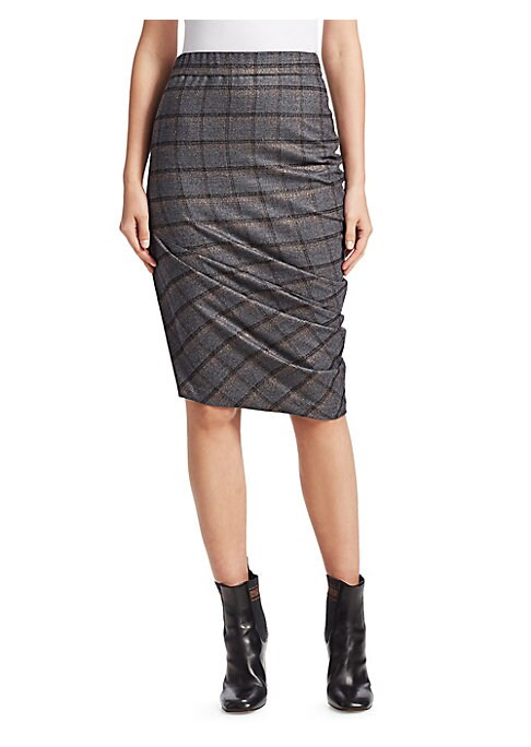 Image of From the Saks IT LIST. MAD FOR PLAID. See the traditional check in dozens of new ways. The classic plaid pencil skirt receive a contemporary recreation. Ruched in design and metallic in finish, this shimmery piece elevates skirt to enchantment. Elasticize