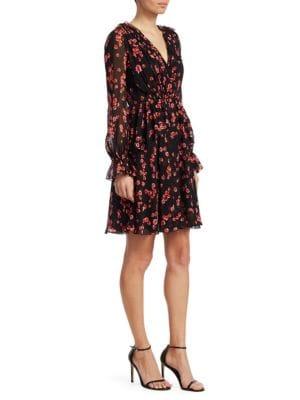 GIAMBATTISTA VALLI Printed V-Neck Ruffle Silk A-Line Dress in Black Multi