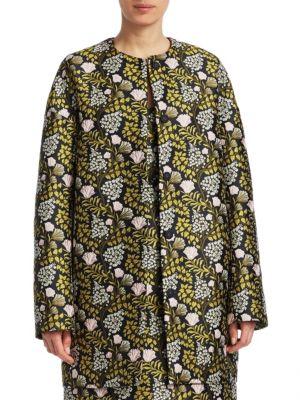Floral Jacquard Cocoon Coat in Black Multi