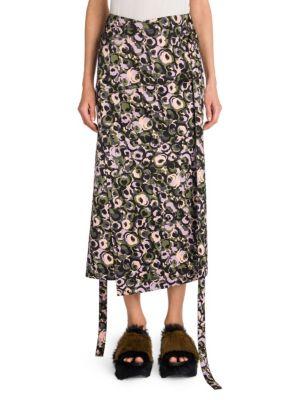 Wrap Tie-Waist Marken Abstract-Print Cotton Sateen Skirt, Multi