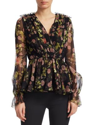 Pintucked Floral-Print Silk-Chiffon Blouse, Black