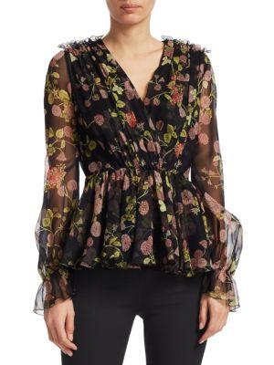 GIAMBATTISTA VALLI Wrap-Effect Floral-Print Silk-Georgette Blouse in Black