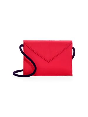 Pen Pal Satin Shoulder Bag in Red
