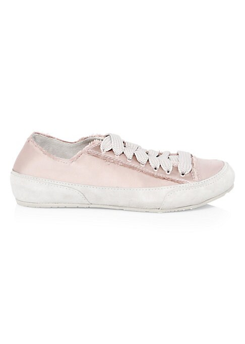Image of Distressed trim offers edge to lovely satin suede sneakers. Satin and suede upper. Round toe. Lace-up vamp. Suede lining. Rubber sole. Imported.