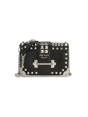 Small Studded Cahier Leather Crossbody Bag, Black