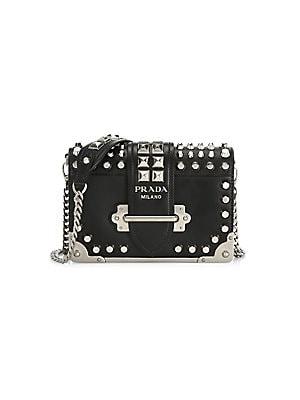 6af1f48ab64b Prada - Small Cahier Studded Leather Crossbody Bag
