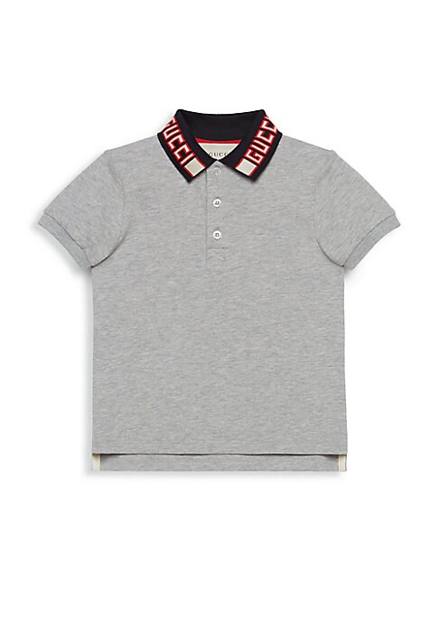 Image of Logo collar tops classic stretch pique polo. Polo collar. Short sleeves. Ribbed cuffs. Three-button placket. Vented hem. Cotton/elastane. Machine wash. Made in Italy.