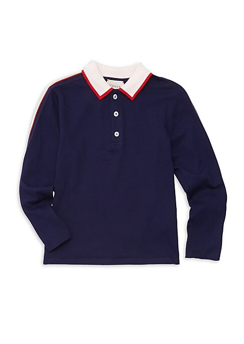 Image of Logo detail adorns contrast stripe polo. Polo collar. Long sleeves. Three-button placket. Cotton/elastane. Dry clean. Made in Italy.