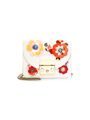 Metropolis Clivia Mini Floral-Embellished Leather Crossbody in Multi