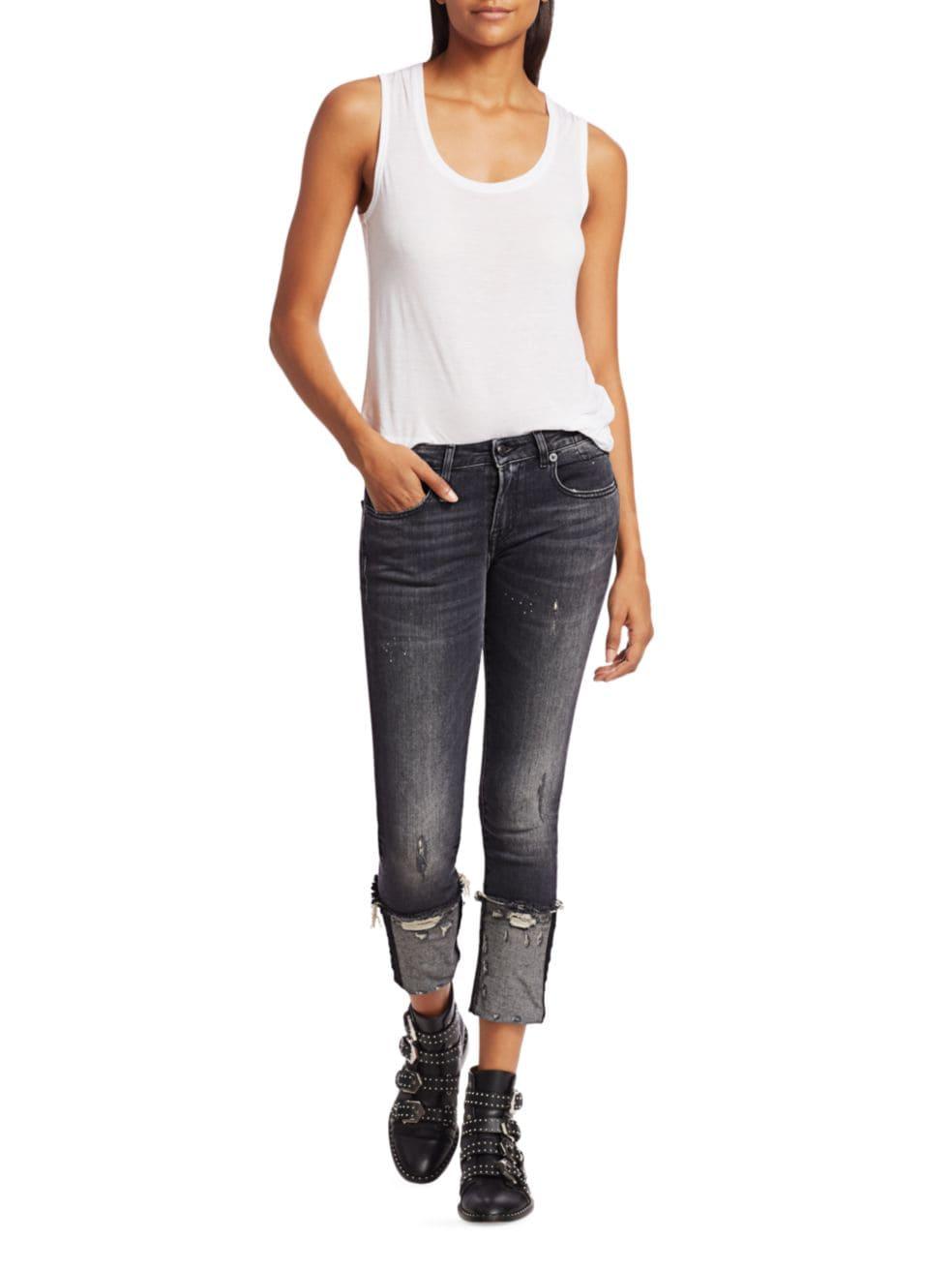 R13 Kate Cuffed Skinny Jeans   SaksFifthAvenue