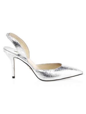 Metallic Leather Slingback Heels by Paul Andrew