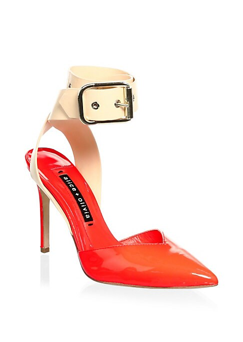 """Image of Colorblock patent leather pumps. Patent leather-covered heel, 3.94"""" (100mm).Point toe. Adjustable ankle strap. Leather lining and sole. Imported."""