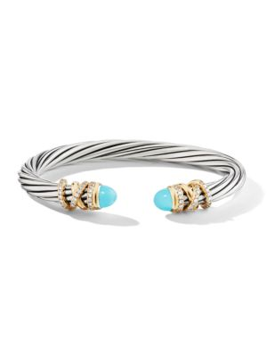 David Yurman Helena Sterling Silver 18k Yellow Gold Diamond Turquoise Bracelet