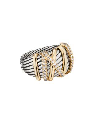 David Yurman Helena 18K Yellow Gold & Pavé Diamond Ring