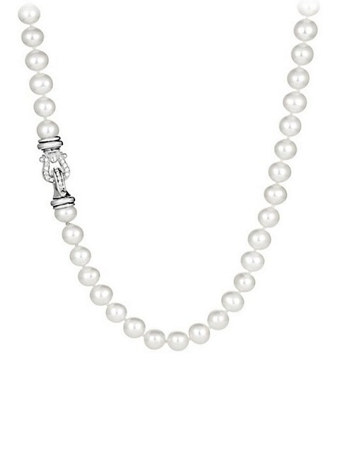 """Sterling Silver & White Cultured Freshwater Pearl Necklace With Diamonds/36"""""""