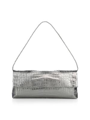 NANCY GONZALEZ Gotham Crocodile Metallic Clutch in Silver