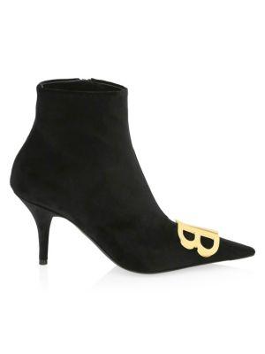 Knife Logo-Embellished Velvet Ankle Boots in Black