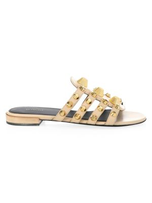 Arena Leather Sandals in Beige