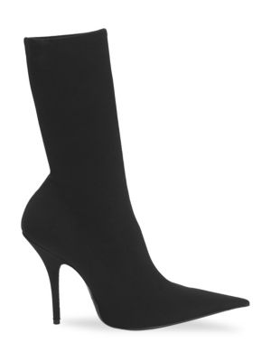 Stiletto Heel Pointed Sock Booties in Black