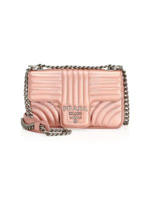 Small Diagramme Leather Shoulder Bag by Prada