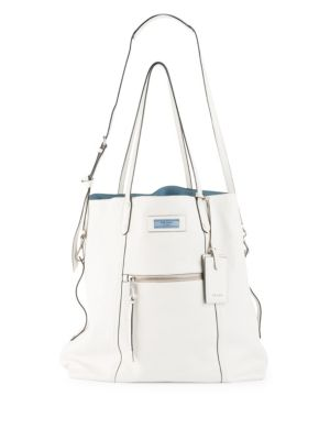 Glace Calf Etiquette Shoulder Tote Bag in White