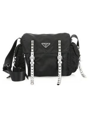 91f940f24f93 Prada Nylon Messenger Bag with Studding