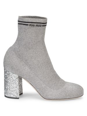 Glitter-Heel Metallic Sock Knit Booties, Crome