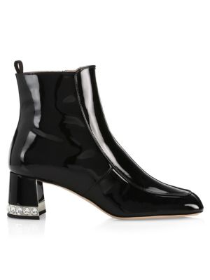 Patent Leather Block-Heel Ankle Boots, Black