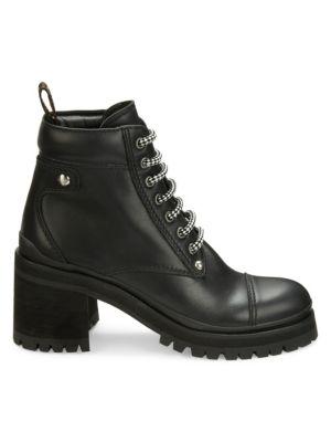 Leather Platform Hiker Boots in Black