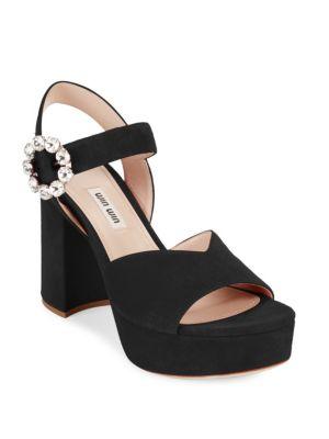 Satin Platform Block-Heel Sandals, Black