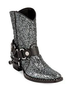 85a82551d172 Miu Miu. Glitter Leather Cowboy Booties