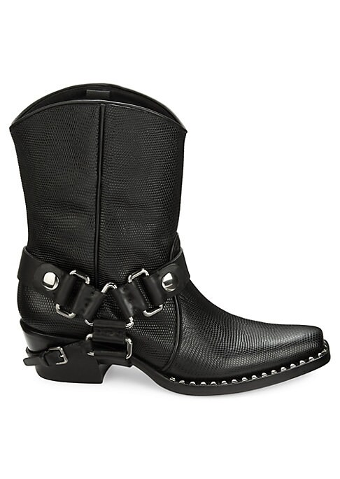 """Image of From the Saks IT LIST. THE COWBOY BOOT. Pair this versatile must-have with flowing skirts, jeans and more. Western silhouette in textured leather with studs and straps. Block heel, 1.5"""" (40mm).Leather upper. Point toe. Pull-on style. Leather sole. Padded"""