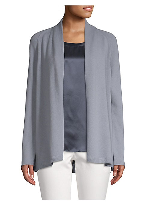 """Image of Minimalist cardigan crafted from luxe cashmere. Shawl collar. Long sleeves. Frayed cuffs. Open front. Rib-knit hem. About 27"""" from shoulder to hem. Cashmere. Dry clean. Imported. Model shown is 5'10"""" (177cm) wearing US size Small."""