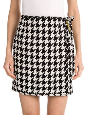 Checked Mini Skirt In Black And White Virgin Wool., Yellow