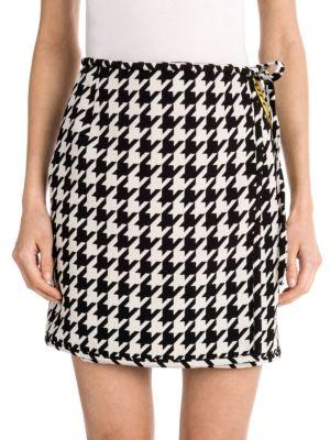 High Waisted Virgin Wool Blend Houndstooth Mini Skirt, Yellow