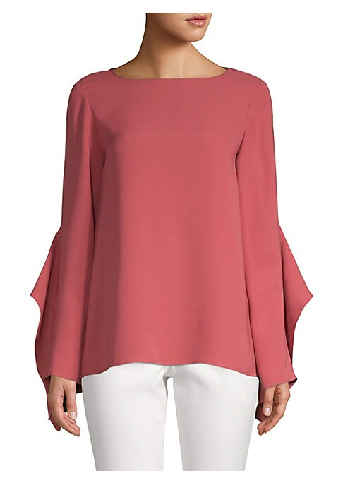 """Image of Dramatic ruffles elevate crepe silk blouse. Boatneck. Long sleeves. Enlarged ruffled cuffs. Pullover style. About 26.5"""" from shoulder to hem. Silk. Dry clean. Imported. Model shown is 5'10"""" (177cm) wearing US size Small."""