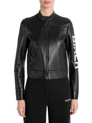 Black Printed Leather Biker Jacket, Black-White