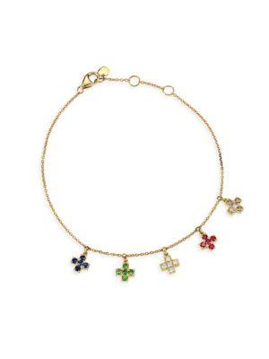 NAYLA ARIDA 18K Yellow Gold & Assorted Gemstones Baby Cross Bracelet