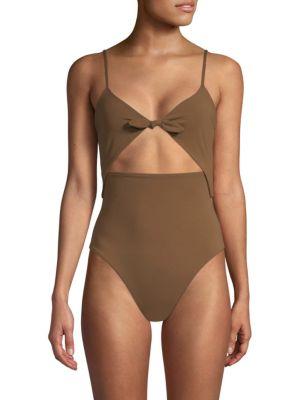 Kia Cutout One-Piece Swimsuit - Brown, Cumino