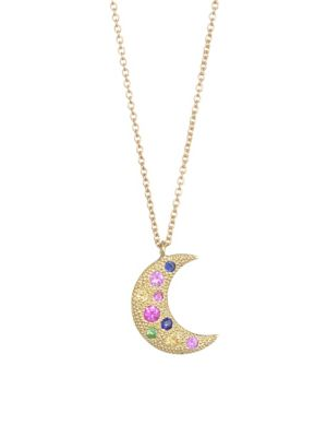 NAYLA ARIDA 18K Yellow Gold Multicolor Sapphire Moon Necklace