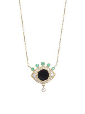 NAYLA ARIDA Eye 18K Yellow Gold, White Diamond, Tsavorite & Black Enamel Pendant Necklace