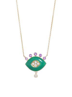 NAYLA ARIDA 18K Yellow Gold Green Enamel, Amethyst & White Diamonds Eye Pendant Necklace