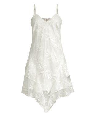 Louise Floral Mesh Asymmetric Mini Dress, Ivory