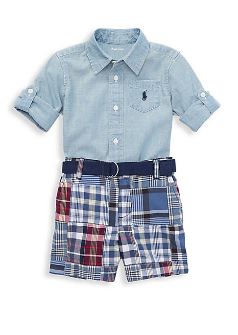 Baby Boys TwoPiece Cotton Collared Shirt and Madras Plaid Shorts Set
