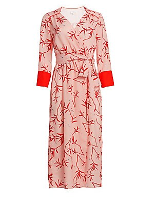"Image of Bold trim frames effortless kimono-style dress Surplice v-neck Long sleeves Ruffle cuffs Wrap front Self-tie waist Front slit About 50 from shoulder to hem Polyester Dry clean Made in UK Model shown is 5'10"" (177cm) wearing a US size 4. Contemporary Sp -"