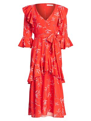 Aiana Ruffled Printed Crepe De Chine Midi Dress, Firefly Red